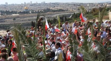 Palmsonntagsprozession in Jerusalem, Bild von der Kustodie des Heiligen landes, Jerusalem