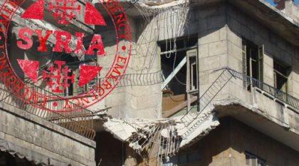 Zerstörter Wohnblock in Aleppo, Syrien. Bild von der Kustodie des Heiligen Landes
