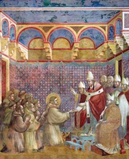 Papst Innozenz bestätigt Franziskus und seinen Brüdern 1209 ihre Ordensregel. Fresco von Giotto in der San Francesco Basilika, Assisi. Bild von Stefan Diller