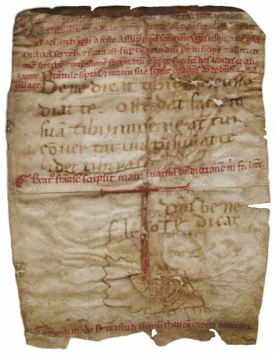 Reliquie: Stark verblasst und kaum noch zu lesen. Der Segen an Bruder Leo wird im Original in der Basilika San Francesco in Assisi aufbewahrt