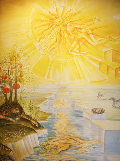 Sonnengesang von Bruder Laurentius Englisch. Wandgemälde im Speisesaal des Franziskus Gymnasiums in Vossenack (Ausschnitt)