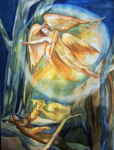 Franziskus empfängt auf dem Berg La Verna die Wundmale Christi. Aquarell von Br. Gabriel Gnägy