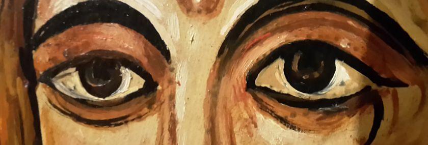 """Das Augenpaar des Gekreuzigen von San Damiano. Klara mag wohl an diesen Anblick Jesu gedacht haben, als sie Ihren Brief an Agnes von Prag verfasst hatte. """"""""Schau in den Spiegel....."""""""""""