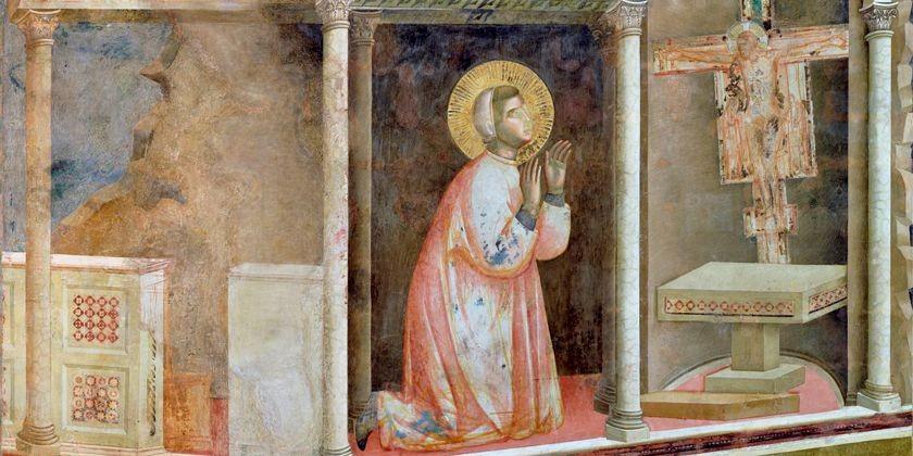 Gebet vor dem Tafelkreuz in der zerfallenen Kirche San Damiano. Detailansicht aus dem Freskenzyklus von Giotto di Bondone zum Leben des heiligen Franziskus in der Oberkirche San Francesco in Assisi.