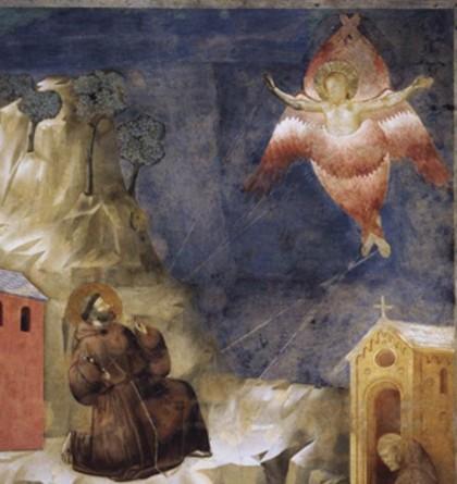 Franziskus empfängt auf dem Berg La Verna die Wundmale Christi.