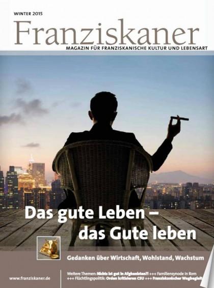 Titel der Zeitschrift Franziskaner, Winter 2015. Klick auf Bild startet Lesemodus