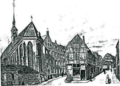 """Franziskanerkloster mit sogenanntem """"Drubbel"""" nach einem Gemälde von Br. Damascen Hahnel OFM, 1926. Dargestellt ist der erweitete Kloster- und Kirchbau nach der Einrichtung der philosophisch-theologischen Ordenshochschule."""