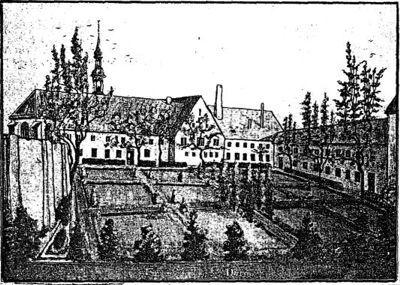 Graphik des Gründungsbaus des Klosters mit Gartengrundstück und der ersten Kapelle von 1488.