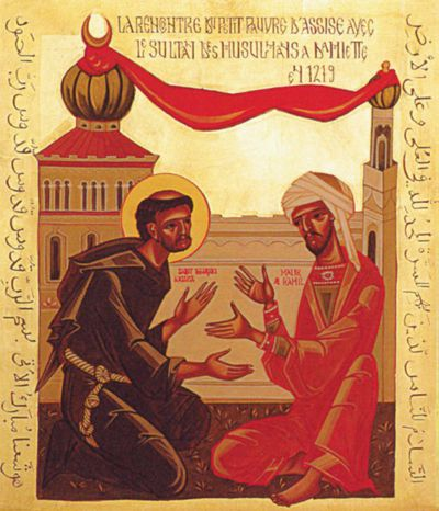 """Couvent des Capucins/St-Maurice """"Im Jahr 1219, zur Zeit der Kreuzzüge, sucht Franz von Assisi unbewaffnet den Sultan al-Malik al-Kamil in Damiette auf. Die Ikone zeigt zwei gläubige Menschen auf Augenhöhe. Die Dynamik ihrer Hände steht für behutsame Annäherung. Das verbindende rote Band zwischen Minarett und Kirchturm symbolisiert die Überwindung der Fremdheit"""""""