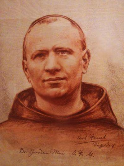 Bruder Jordan Mai, Zeichnung von Carl Faust, Düsseldorf; Aufbewahrungsort: Franziskanerkloster Dortmund, Bild von Augustinus Diekmann