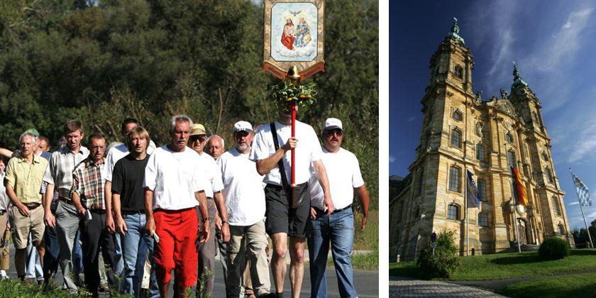 Eine Prozession von Pilgern auf dem Weg zur Basilika Vierzehnheiligen.