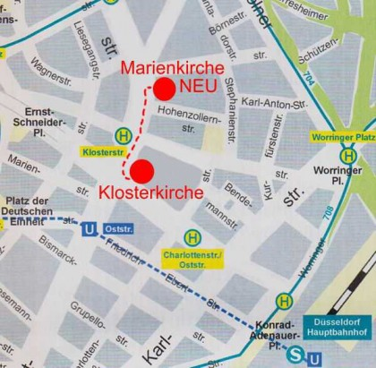 Auf diesem Kartenausschnitt wird die kurze Entfernung des Jetzigen Standortes vom ehemaligen Klosterareal ersichtlich.