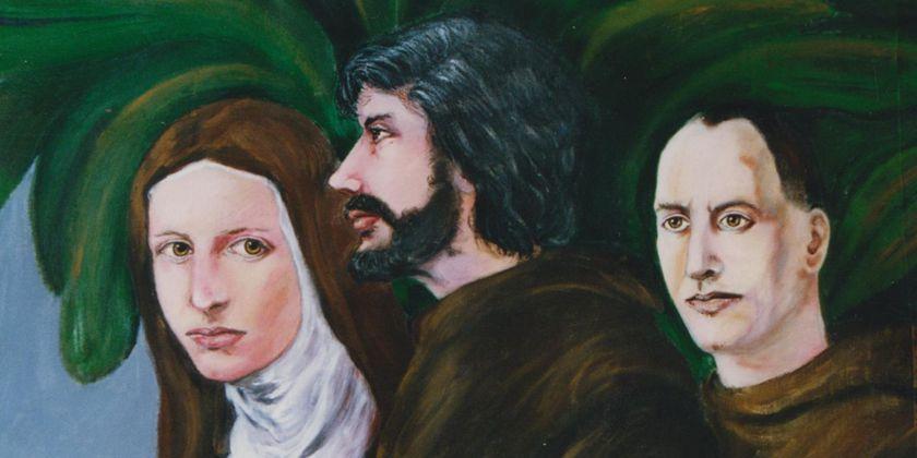 Bruder Firminus Wickenhäuser in Gemeinschaft mit den beiden großen Gestalten des Franziskanerordens, dem heiligen Franziskus und der heiligen Klara. Acrylmalerei von Bruder Gabriel Gnägy.