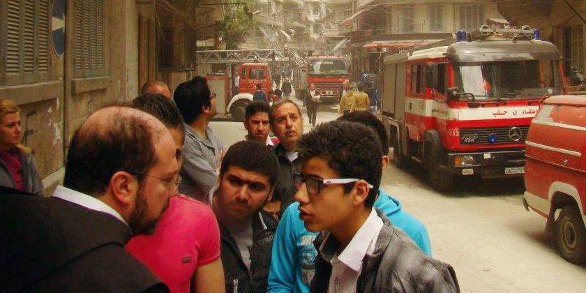 Bruder Ibrahim (vorne links) auf den Strassen von Aleppo im Frühjahr 2015
