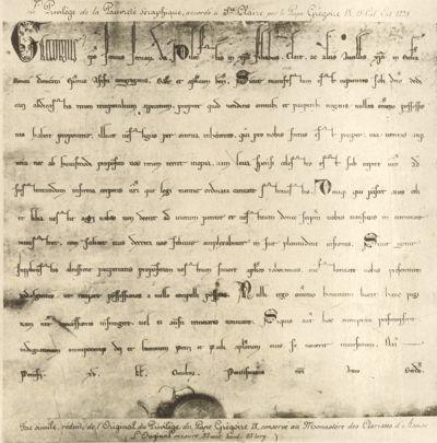 Originaldokument des für Klara aufgesetzten Armutsprivilegs