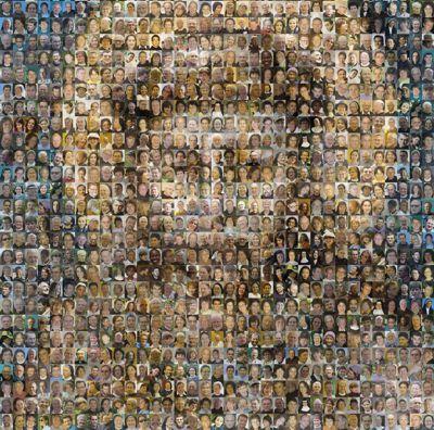 """Fotocollage """"Viele Menschen guten Willens Formen gemeinsam das Antlitz des heiligen Franziskus"""""""