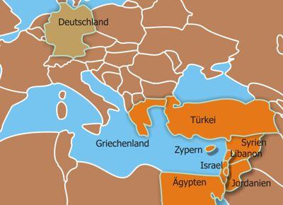 Die Karte zeigt den Einzugsbereich der Custodie des Heiligen Landes. Es erstreckt sich über fast den gesamten östlichen Mittelmeerraum von Griechenland über Israel, Syrien, Jordanien bis nach Ägypten. Bildquelle: Custodie des Heiligen Landes.