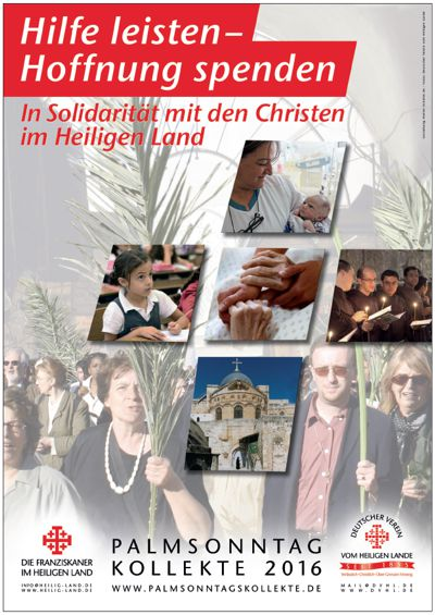 Plakat der Spendenaktion für das Heilige Land 2016