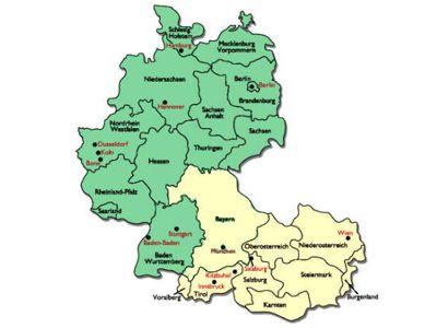 Neuordnung der Franziskanerprovinzen. Skizze: gelb = Bavaria + Austria, grün = Rest Germania
