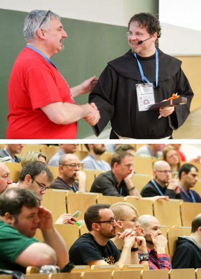 WordCamp 2016 in Nürnberg. Veranstalter Stefan Kremer mit Br. Natanael. Blick ins Auditorium. Bilder von WordPress