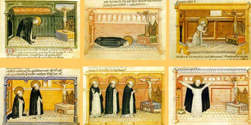 Gebetsweisen des Heiligen Dominikus. Miniaturen aus dem Codex Rossianus (3), aufbewahrt in der Vaticanischen Bibliothek. Bild von Ordine dei Predcatorie, Provincia San Domenico in Italia, Domenicani del Nord Italia.