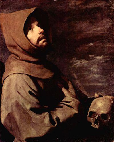 Der heilöige Franziskus meditiert über die Vergänglichkeit des irdischen Lebens. Gemälde von Francisco de Zubaran, (1598-1664) Bild von Wikimedia Commons, public domain.