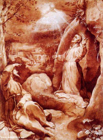 Franziskus im Gebet; Retölzeichnung von Federico Barocci. Bild von commons.wikimedia.org