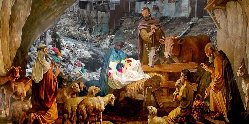 Anbetung der Hirten (20. Jahrhundert) aus der Kapelle im Hirtenfeld Beit Sahour, Betlehem. Fotos von Slum Nairobi sowie Anne mit Claire von Bruder Markus Heinze, Bildkollage von Bruder Natanael Ganter.