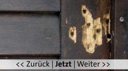 Halle, Synagogen Tür nach dem Anschlag. Bild von Reise Reise Wikipedia